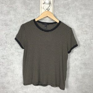 Forever 21 Tan and Black Stripe Crew Neck Tee